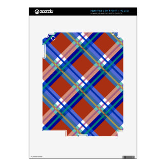 Plaids, Checks, Tartans Red and Blue Skins For iPad 3