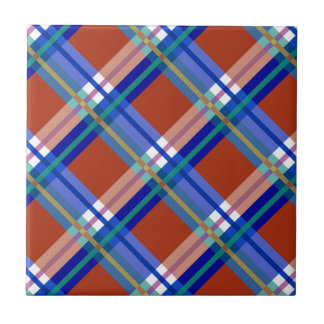 Plaids, Checks, Tartans Red and Blue Tile