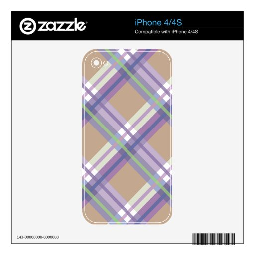 Plaids, Checks, Tartans Sand Lavender and Mint iPhone 4S Decals