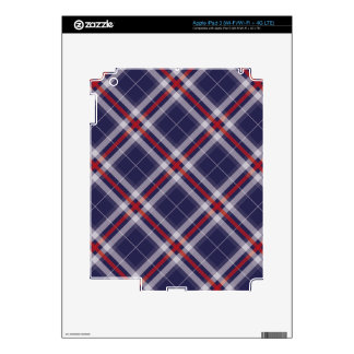 Plaids, Checks, Tartans White Red Blue Decal For iPad 3