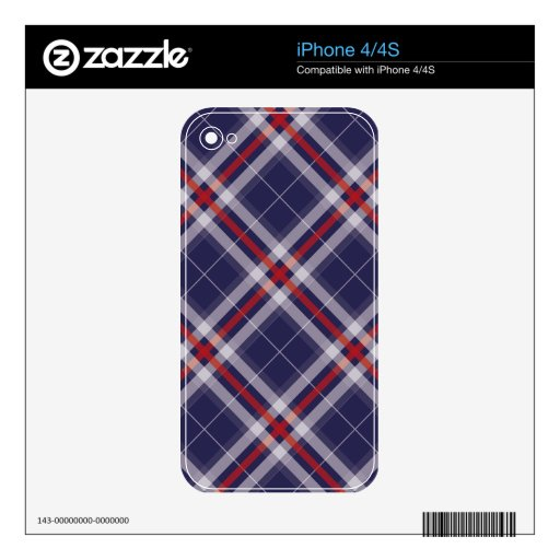 Plaids, Checks, Tartans White Red Blue Decal For iPhone 4S