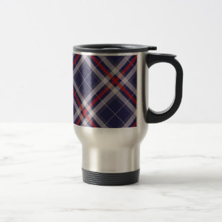 Plaids, Checks, Tartans White Red Blue Travel Mug
