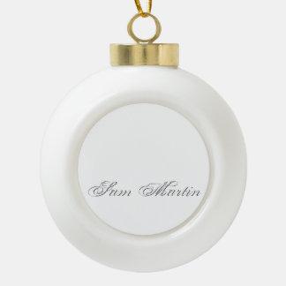 Plain 3d Monogram Name Text Ceramic Ball Christmas Ornament