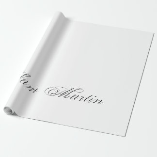 Plain 3d Monogram Name Text Wrapping Paper