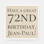 [ Thumbnail: Plain 72nd Birthday Paper Napkins ]