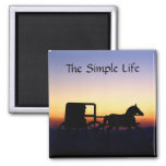 Plain and Simple Amish Life 2 Inch Square Magnet
