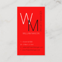 Plain and Simple Red Monogram Business Card