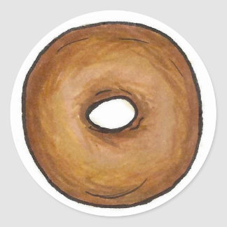 Plain Bagel Classic New York CIty NYC Bagels Food Classic Round Sticker