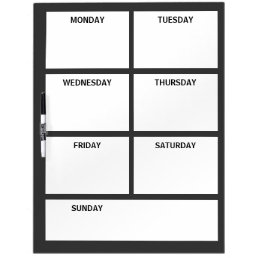 Plain Basic Simple Black White Days of the Week Dry-Erase Board