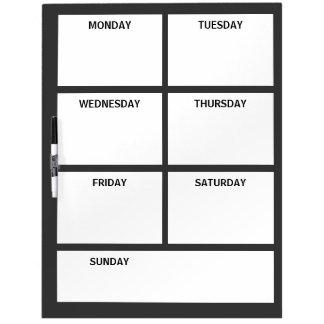 Plain Basic Simple Black White Days of the Week Dry-Erase Board
