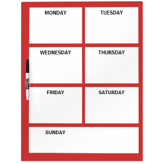 Plain Basic Simple Red White Days of the Week Dry-Erase Board