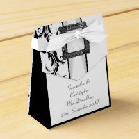 Plain black and white damask lace wedding favor box