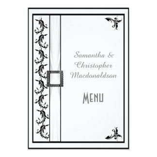 Plain black and white lace wedding menu 5x7 paper invitation card