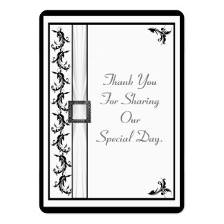Plain black and white lace wedding thank you tag large business cards (Pack of 100)