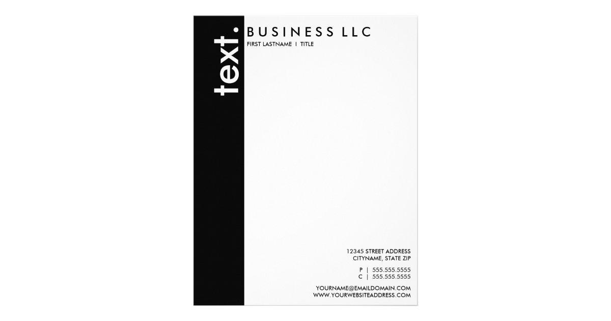 Plain black and white vertical bar letterhead zazzle spiritdancerdesigns Choice Image