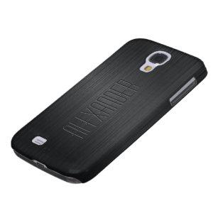Plain Black Design Brushed Aluminum Look Galaxy S4 Cover