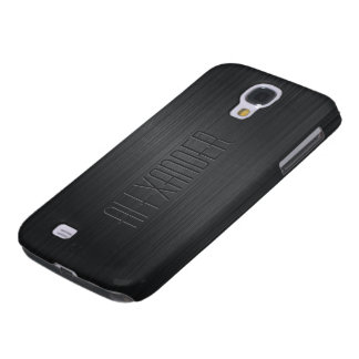 Plain Black Design Brushed Aluminum Look Galaxy S4 Cover