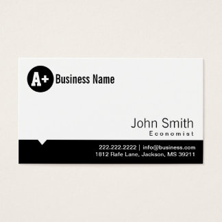 Plain Black Dot Economist Business Card