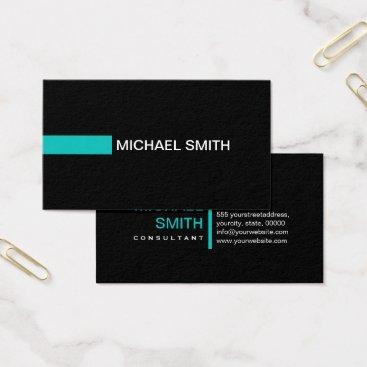 McTiffany Tiffany Aqua Plain Black Elegant Modern Tiffany Blue Business Card
