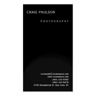 Plain Black Grey Photography Business Card
