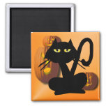 Plain Black Kitty Halloween Magnet