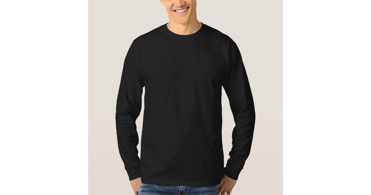 Plain Black Mens Basic Long Sleeve T-shirt | Zazzle