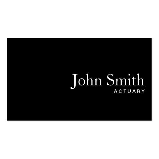 Plain Black QR Code Actuary Business Card