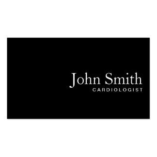 Plain Black QR Code Cardiologist Business Card