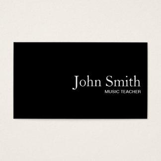 Plain Black QR Code Music Teacher Business Card