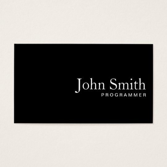 Plain Black QR Code Programmer Business Card