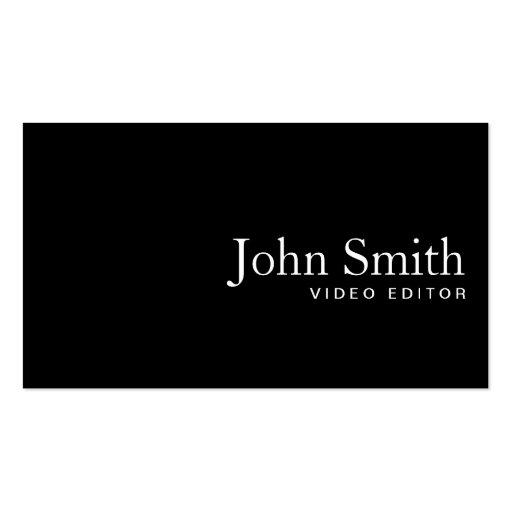 Plain Black QR Code Video Editor Business Card
