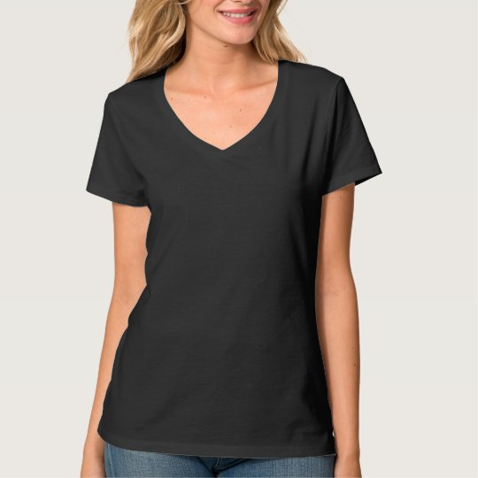 Plain black t-shirt for women, ladies v-neck nano