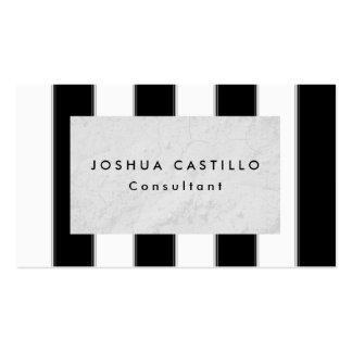 Plain Black White Gray Striped Professional Business Card