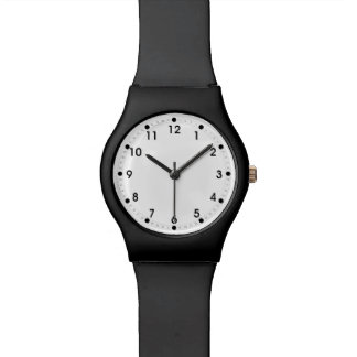 Plain Black White Minutes and Second Hand Numbers Wrist Watch