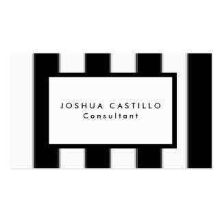 Plain Black White Striped Professional Business Card
