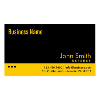 Plain Black & Yellow Referee Business Card