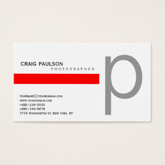 Plain Blue Red Photography Business Card