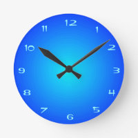 Plain Blue with Aqua Centre   > Kitchen Clocks