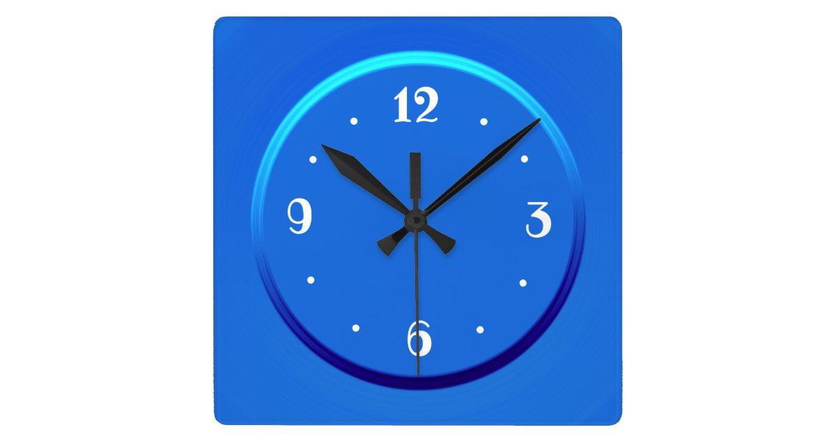 Plain Blue With White Numerals Kitchen Clocks Square Wall Clock Zazzle Com