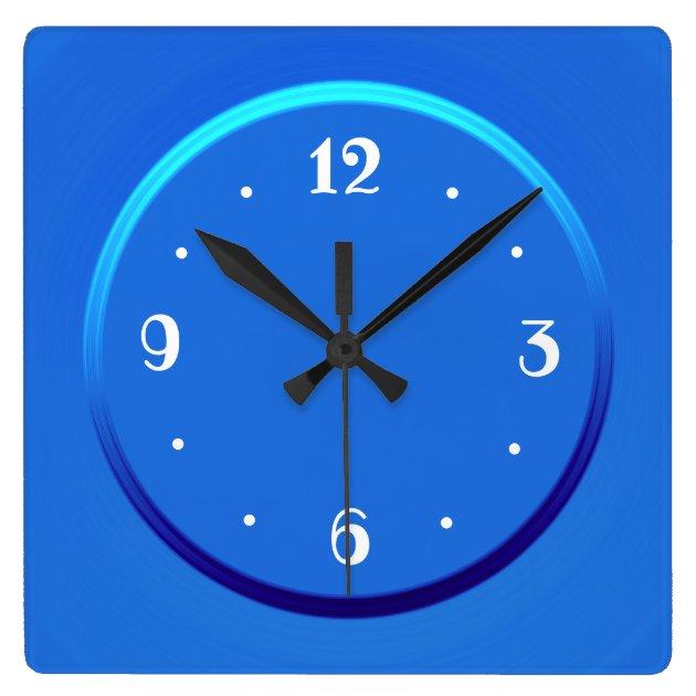 Plain Blue With White Numerals U003e Kitchen Clocks. Square Wall Clock    Zazzle.com