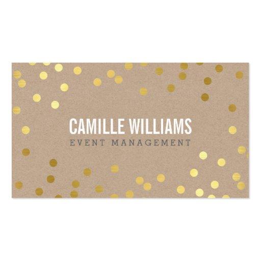 PLAIN BOLD MINIMAL confetti gold eco natural kraft Business Card Templates