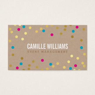 PLAIN BOLD MINIMAL confetti gold pink blue kraft Business Card
