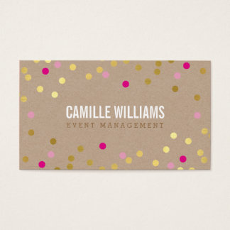 PLAIN BOLD MINIMAL confetti gold pink cute kraft Business Card