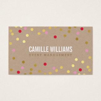 PLAIN BOLD MINIMAL confetti gold pink red kraft Business Card