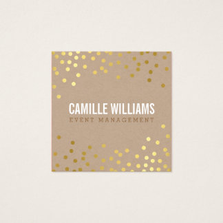 PLAIN BOLD MINIMAL smart glam confetti gold kraft Square Business Card