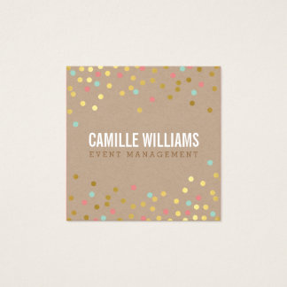 PLAIN BOLD MINIMAL smart text confetti gold kraft Square Business Card