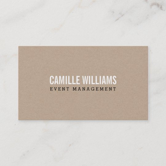 plain bold minimal smart text natural kraft business card - Kraft Business Cards