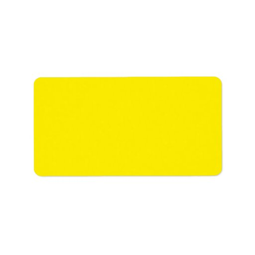 Plain bright yellow solid background blank FFEF00 Address Label