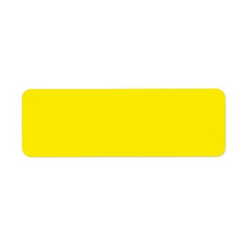 Plain bright yellow solid background blank FFEF00 Return Address Label