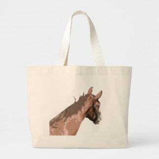 Plain Brown Horse's Head Large Tote Bag
